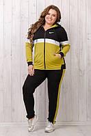 Трикотажный спортивный женский костюм: кофта с капюшоном на змейке и прямые штаны, батал большие размеры