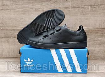 Мужские кроссовки Adidas Stan Smith Total White Натуральная кожа ЛИПУЧКА