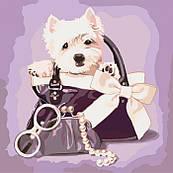 Картина по номерам Идейка Любимый щенок 40х40 см  КНО4033