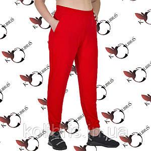 Летние женские брюки на резинке размеры от 50 до 58 красная двунитка