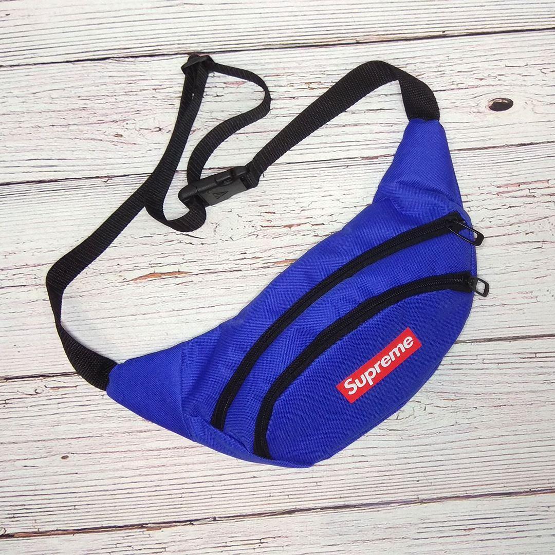 Стильная бананка, барсетка, поясная сумка Supreme   Синяя