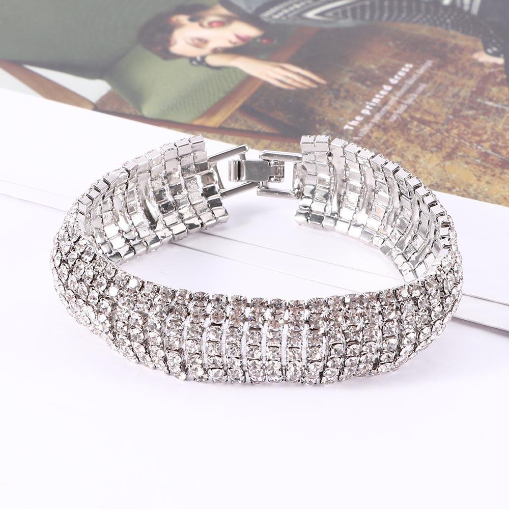 Серебристый браслет женский с кристаллами код 1891