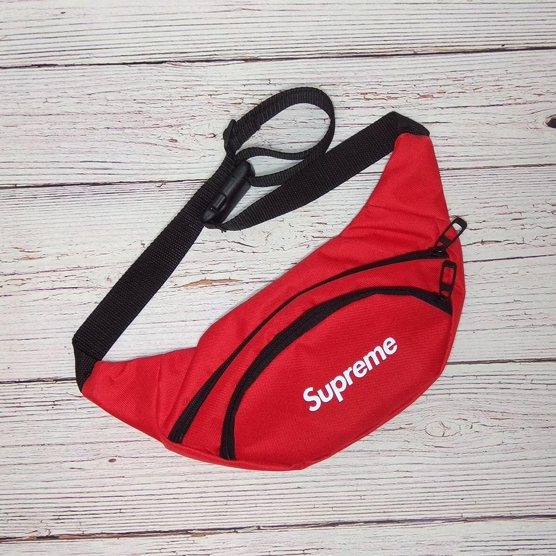 Стильная бананка, барсетка, поясная сумка Supreme | Красная