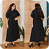 Длинное платье-рубашка из натурального льна с пряском, батал и супер батал большие размеры, фото 3