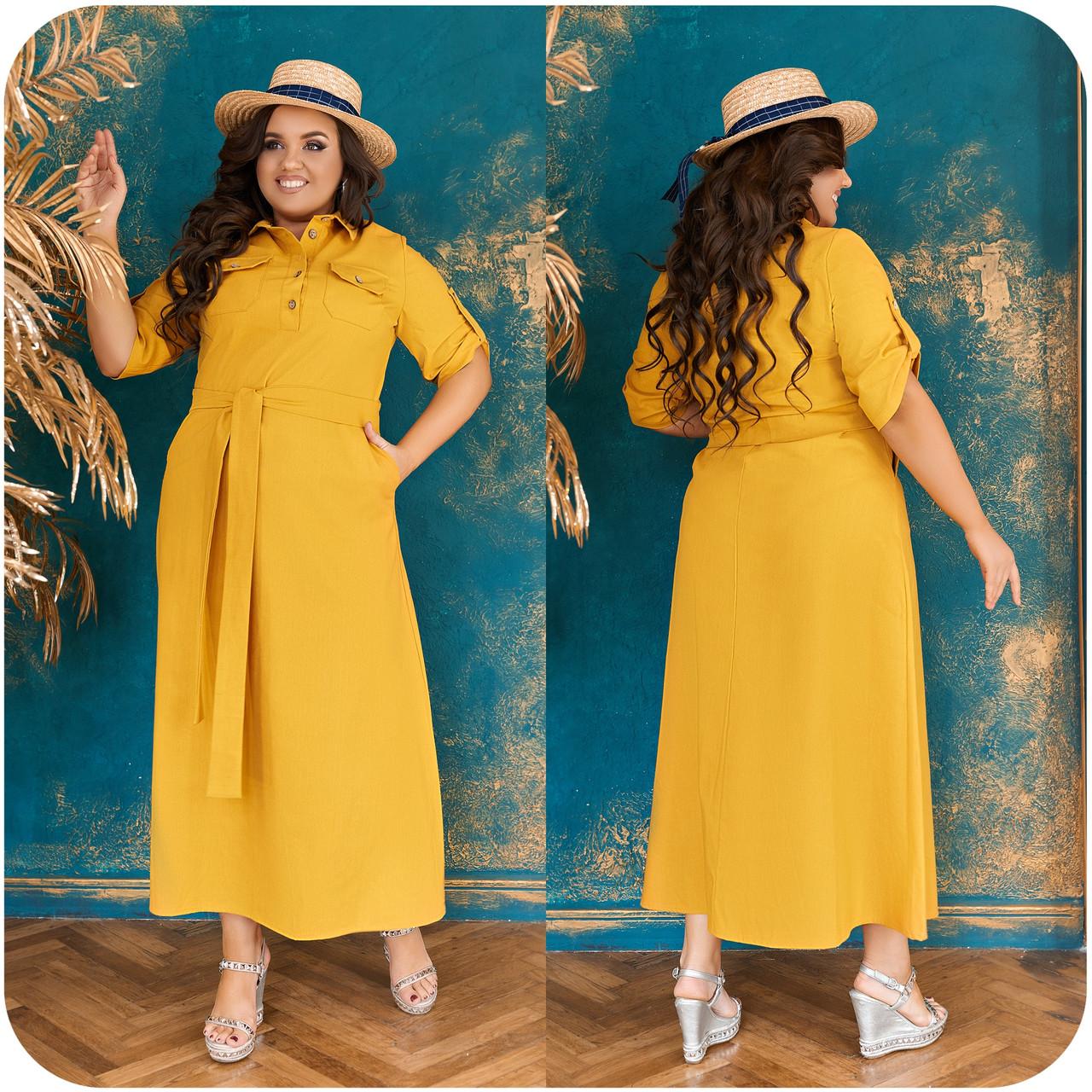 Длинное платье-рубашка из натурального льна с пряском, батал и супер батал большие размеры
