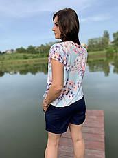 Костюм женский блузка с цветами и шорты размеры  44-46,48-50,52-54, фото 3