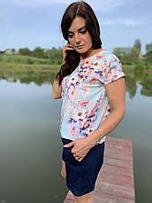 Костюм женский блузка с цветами и шорты размеры  44-46,48-50,52-54, фото 2