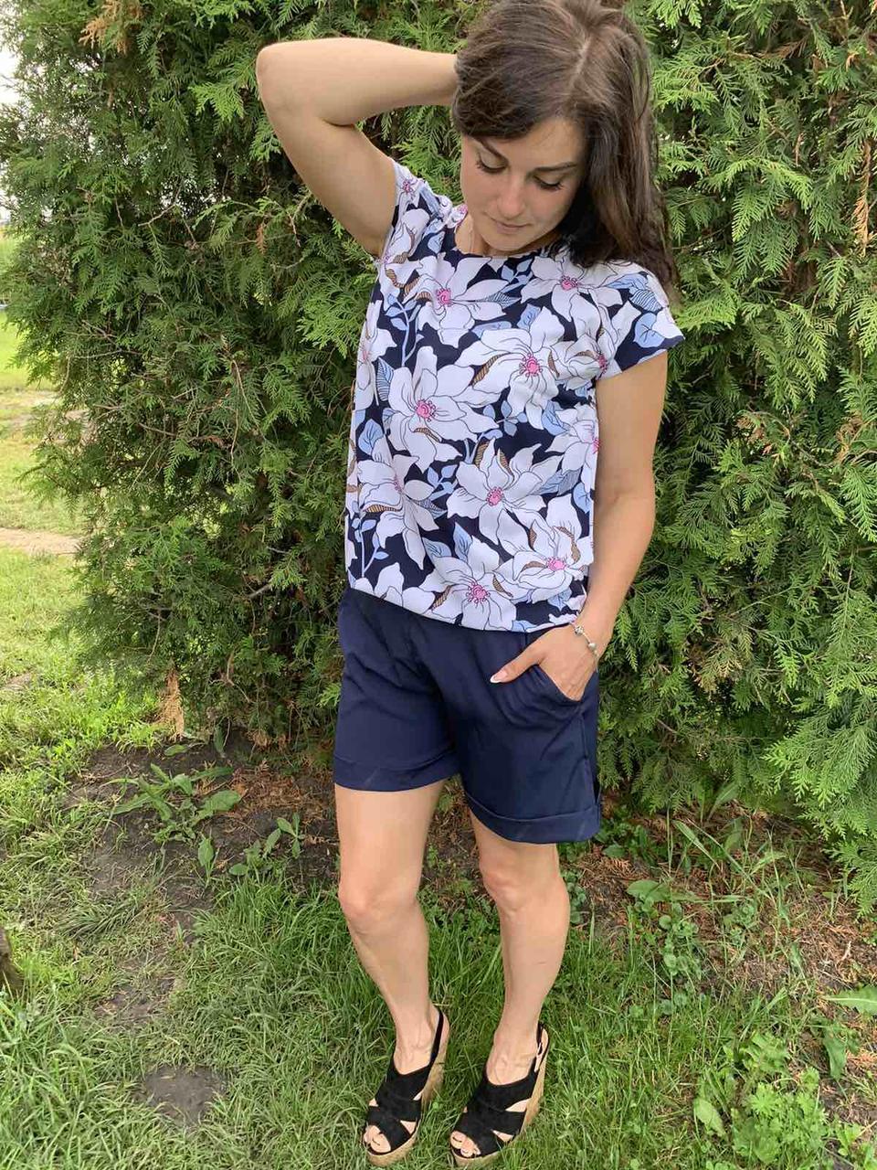 Костюм лето женский блуза и шорты размеры  44-46,48-50,52-54