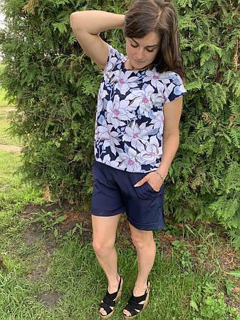 Костюм лето женский блуза и шорты размеры  44-46,48-50,52-54, фото 2