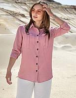 Летняя коттоновая прямая женская рубашка (1387.4181-4182  svt) Розовый