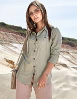 Летняя коттоновая прямая женская рубашка (1387.4181-4182  svt) Оливковый