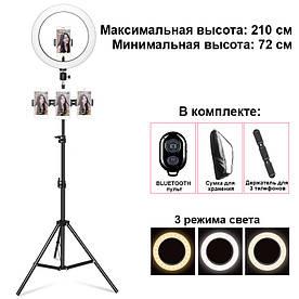 Кільцева світлодіодна лампа 26 см Ring Fill Light з металевим штативом 2,1 м для професійної зйомки