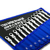 Набор комбинированных гаечных ключей с трещоткой и шарниром размеры 8-22 мм  (14 предметов) HASKYY®