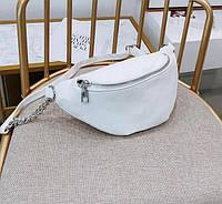 Модная Женская сумка на пояс (бананка) Blind белая кожзам черная