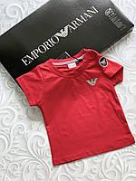 Красная  детская футболка Armani