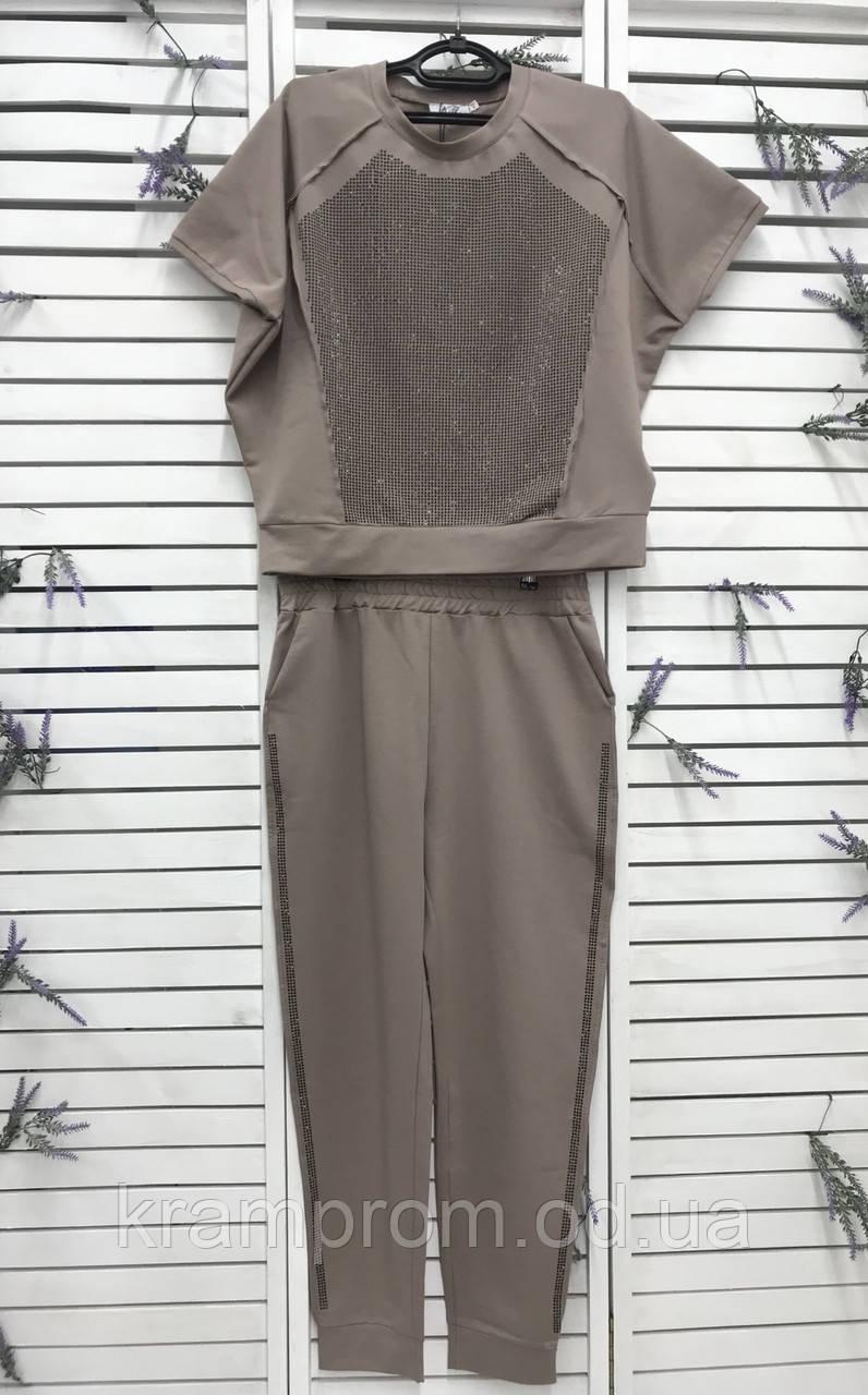 Яркий женский летний костюм со стразами большой размер ХИТ.  Женская одежда.
