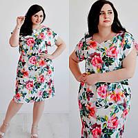 Красивое платье для полных девушек в цветочный принт, размеры 48, 50 ,52, от производителя