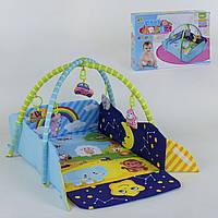 Детский развивающий коврик с бортиками 127-22 и подвесными мягкими игрушками