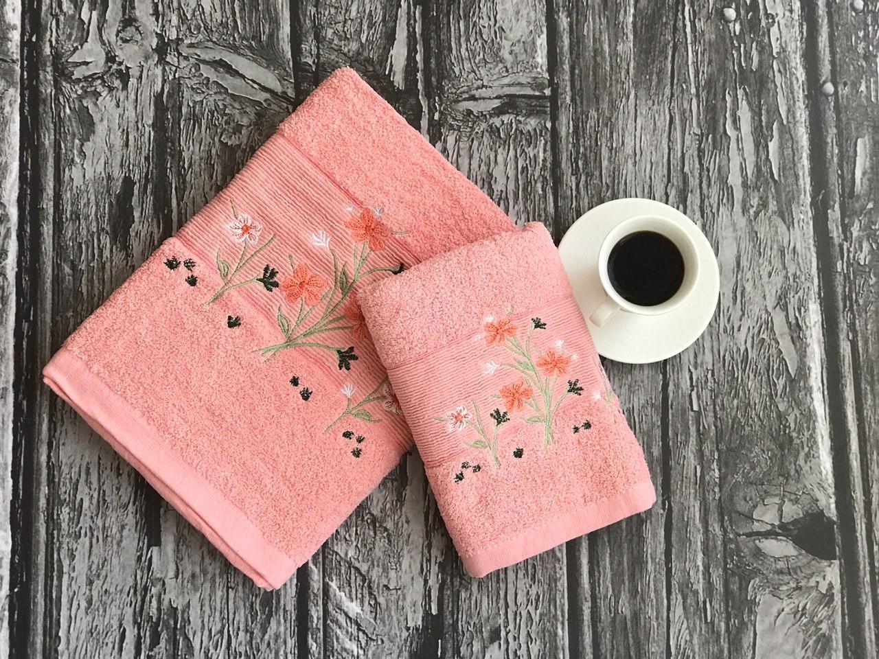 Розовый нежный набор полотенец баня + лицо (2 шт.)