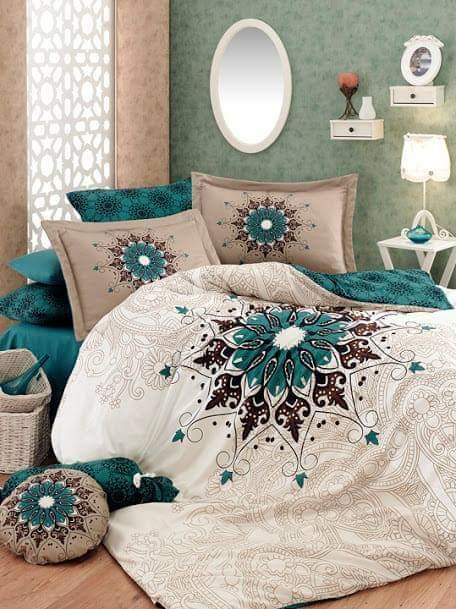 Красивый комплект постельного белья, полуторный с Узором. Бязь Gold