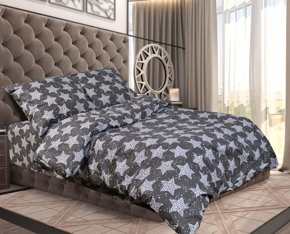 Отличное семейное постельное белье, серые звезды