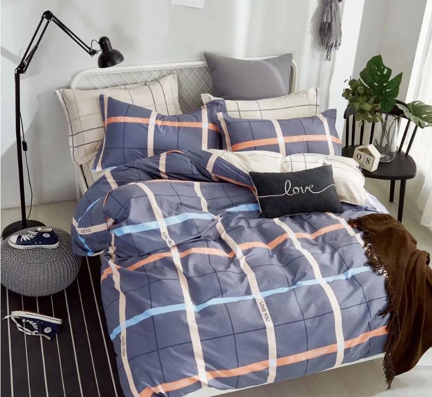 Двухспальный комплект постельного белья, серое в полоску