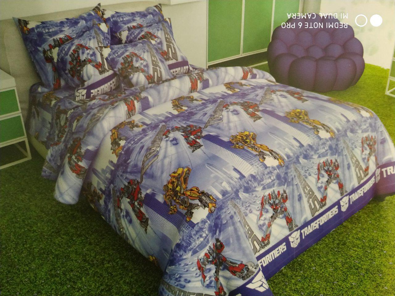 Детский комплект постельного белья, двухспальный, Трансформеры. Бязь Gold