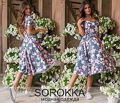Красивое летнее молодёжное платье из принтованного софта  42-46 размер, фото 2