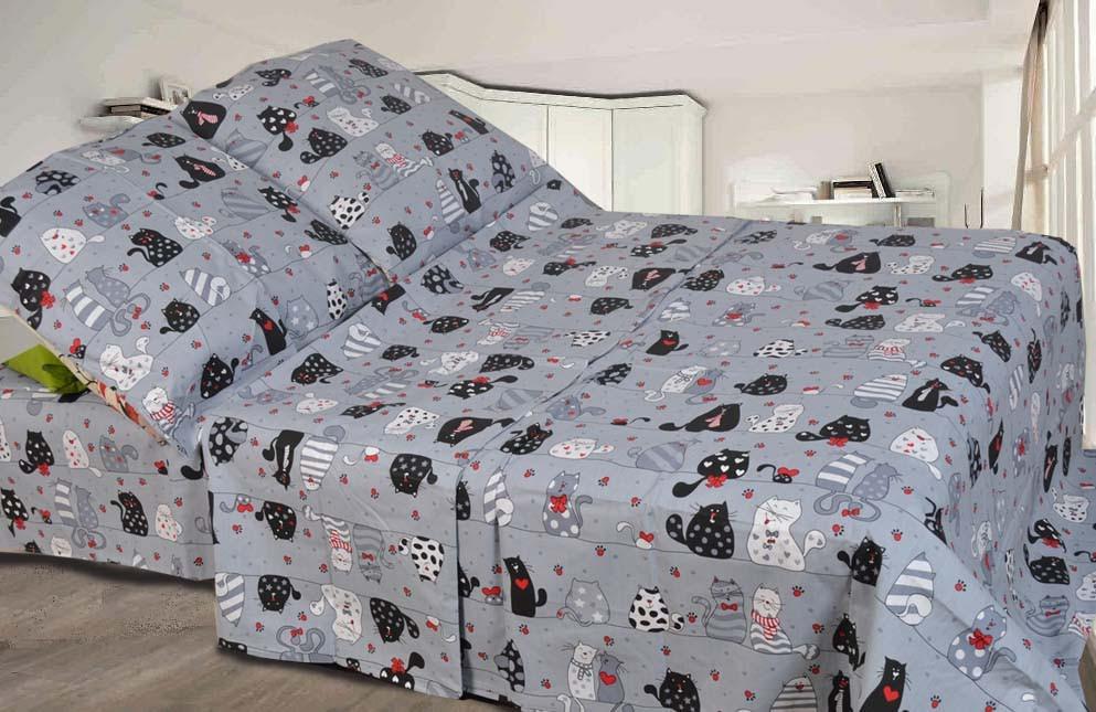 Красивое детское постельное белье полуторка, Коты. Бязь Gold