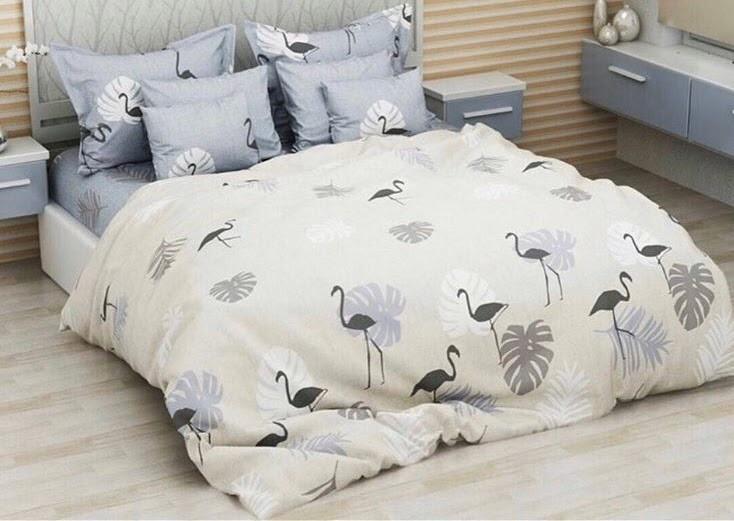 Красивое и качественное постельное белье евро размер, Серый фламинго. Бязь Gold