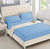 Двуспальная махровая простынь на резинке 220х240 см (на матрас 160-180х200 см) + 2 наволочки, голубая, Турция