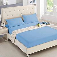 Двуспальная махровая простынь на резинке 220х240 см (на матрас 160-180х200 см) + 2 наволочки, голубая, Турция, фото 1