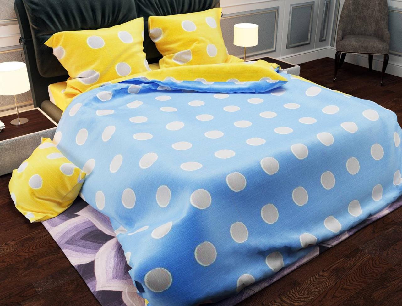 Комплект качественного постельного белья, евро размер, Желто-голубое. Бязь Gold