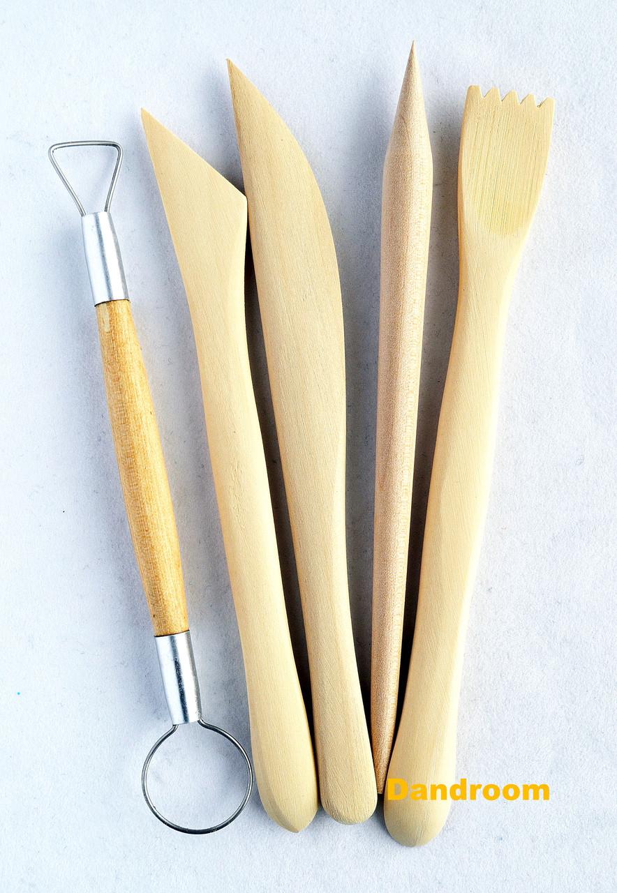 Набір дерев'яних інструментів для ліплення, двосторонні стеки і петля, 5 штук