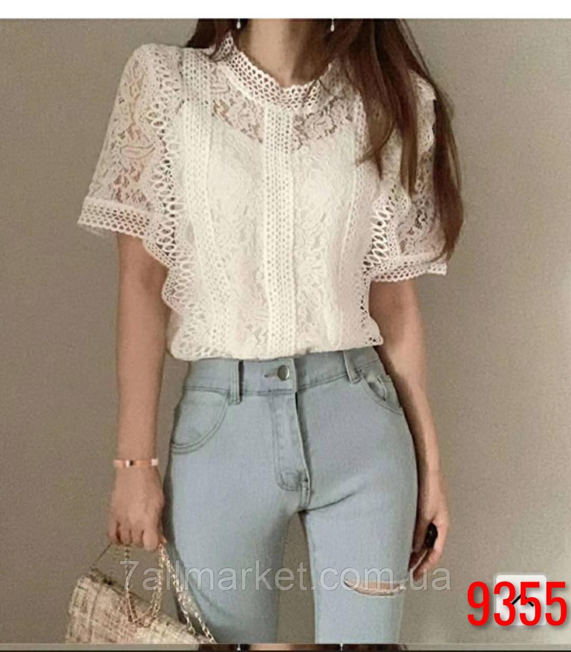 """Блузка женская кружевная,короткий рукав, размеры M-L (4цв) """"SPRING"""" купить недорого от прямого поставщика"""