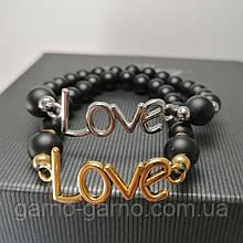 Браслет лава шунгіт LOVE Парний браслет з натуральних каменів для неї і його чорний