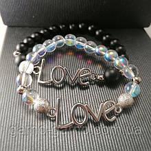 Браслет шунгіт опал райдужний love Парний браслет з натуральних каменів Може бути парним для неї і його чорний і райдужний