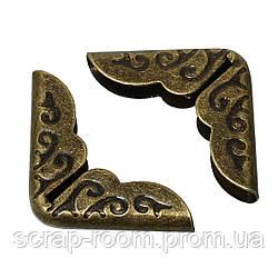 Уголки для альбомов бронза 14*14 мм, бронзовые уголки, металлические уголки, уголки для блокнота