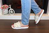 Шлепанцы женские белые с цветами Б524, фото 4