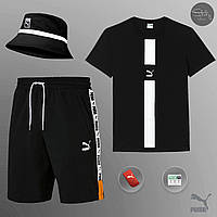 Шорты + Футболка Puma black   Комплект мужской летний ЛЮКС качества, фото 1