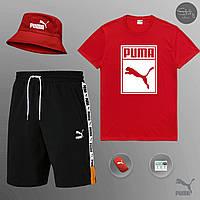 Шорты + Футболка Puma XTG black-red | Комплект мужской летний ЛЮКС качества, фото 1