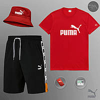 Комплект мужской летний  Puma XTG black-red Шорты + Футболка |  ЛЮКС качества, фото 1