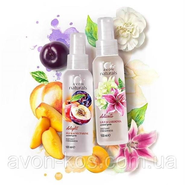 """Лосьон- спрей для тела. Комплект: """" Прелестная слива и нектарин» , «Нежный аромат лилии и гардении»  Avon Naturals"""
