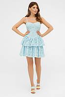 Голубой короткий сарафан из котона на лето. Женская одежда на лето.