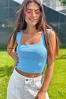 Модный женский трикотажный кроп-топ  Avrile - голубой цвет, S (есть размеры)
