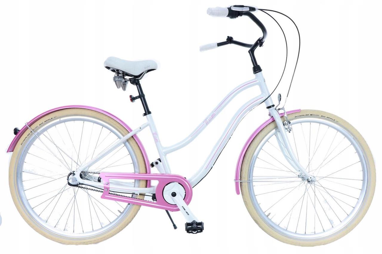 Велосипед женский городской Beach Cruiser Cossack 28 Nexus 3 White-Pink с корзиной Польша