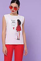 Модная футболка летняя белая с принтом