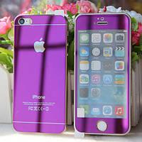 Защитное стекло (2in1) для iPhone 5/5s Purple переднее + заднее