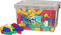 Блочный пластиковый конструктор для маленьких детей Polesie Юниор 360 элемента в контейнере, синий