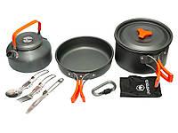 Набор посуды походный Cooking Set DS - 308 (с столовыми приборами)